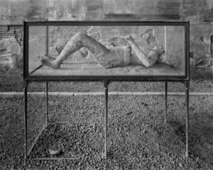 Photograph of human remains caste from Pompeii