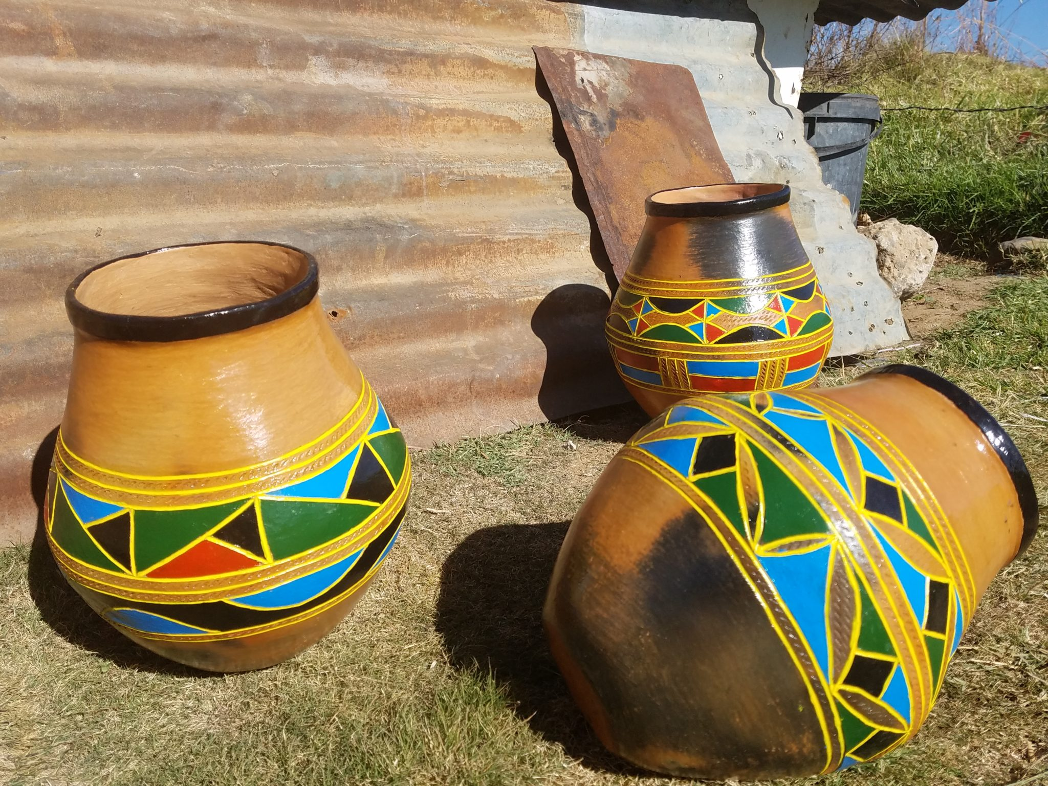 Pots made by South Sotho people of South Africa