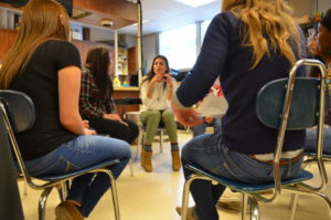 Students discuss in seminar-style class