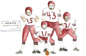 Xerxes costume sketch - football team.