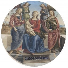 18th century drawing of a woman surrounded by angels holding a baby