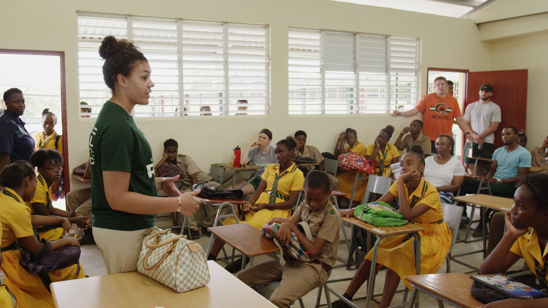 Myanne Hamm leads a class during a service trip in Jamaica.