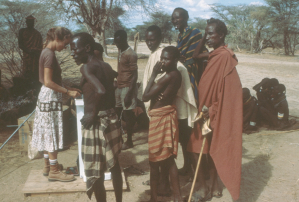 Kathleen Galvin and a group of local men in Turkana
