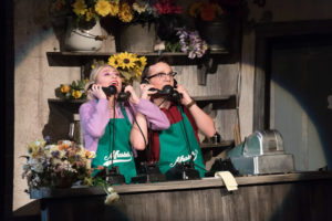 Actor and actress on stage at the UCA for the musical, Little Shop of Horrors