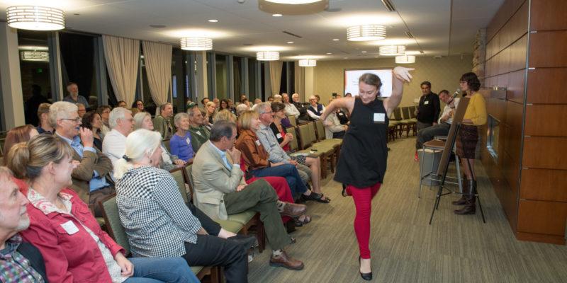 Professor Madeline Harvey used audience participation to create an interpretative dance activity.
