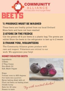 Martinek's beets direction label to display healthy food options.