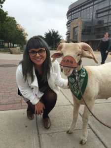 Erica Lafher with CAM the Ram