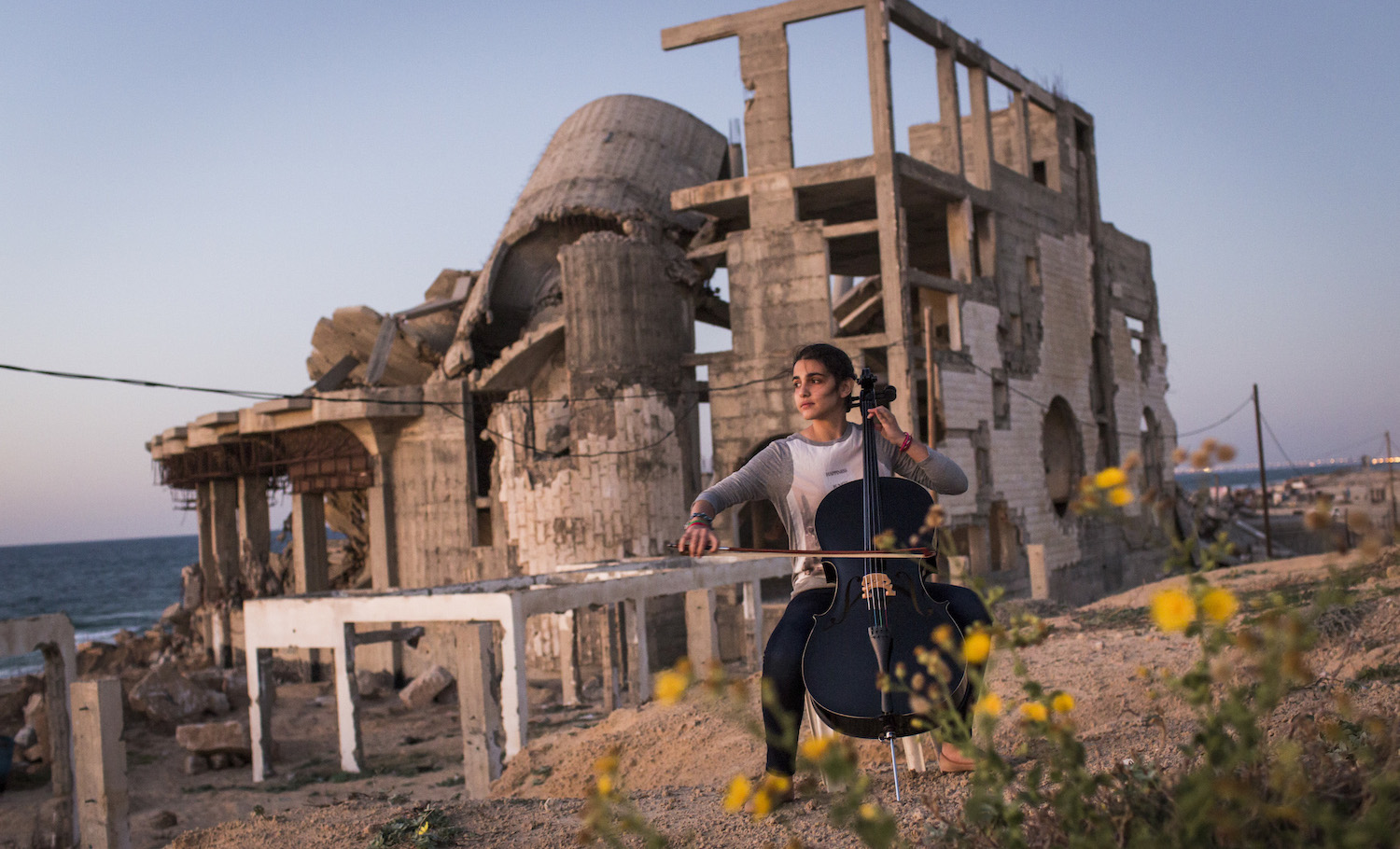 Person playing cello in 'Gaza'