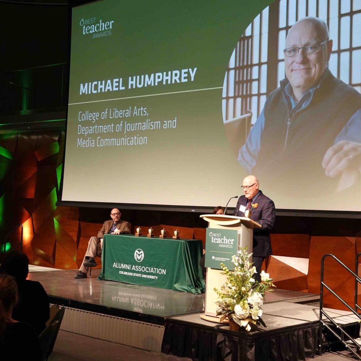 Michael Humphrey accepting his award as a 2019 Best Teacher