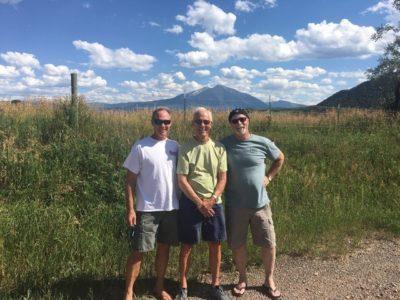 Emeritus professor Dan Tyler with friends in front of Mt Sopris
