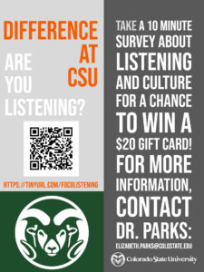 Participate in a survey about listening across difference. QR code and email address