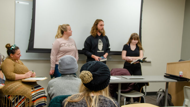 Students presenting in LB393