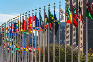 Flags from all countries outside of the UN building in Manhattan