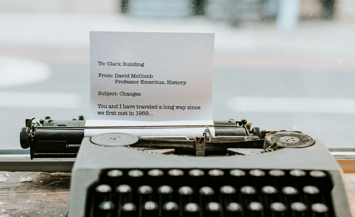 Typewriter with text of a letter to the CSU Clark Building