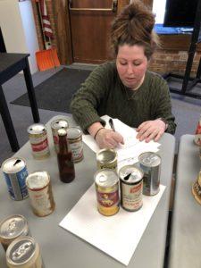 Students working on exhibit