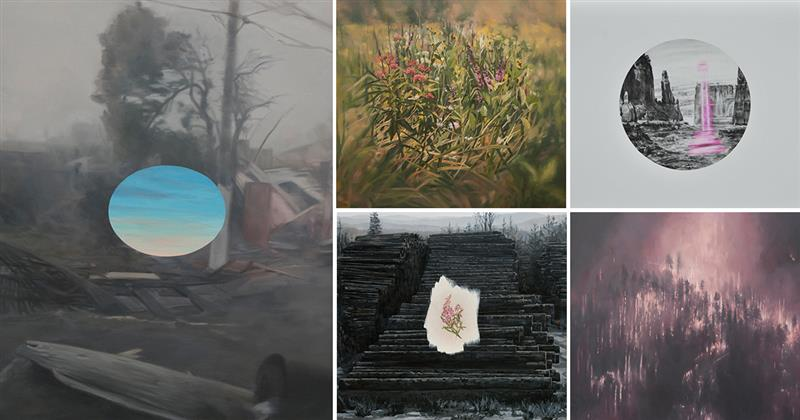 Oil paintings and charcoal drawings of the environment