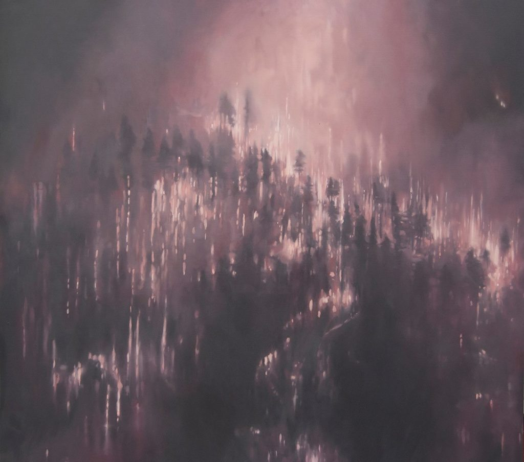 Oil painting of a wildfire