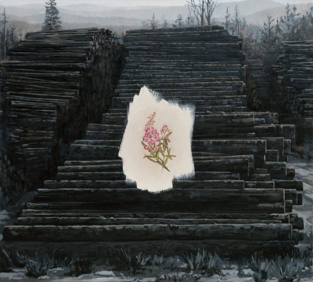 Oil painting of logs with wildflower focal point