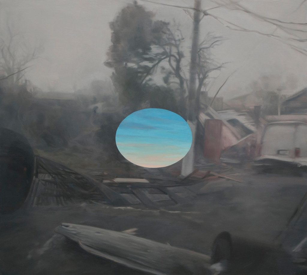 Oil painting of natural disaster with bright sky focal point