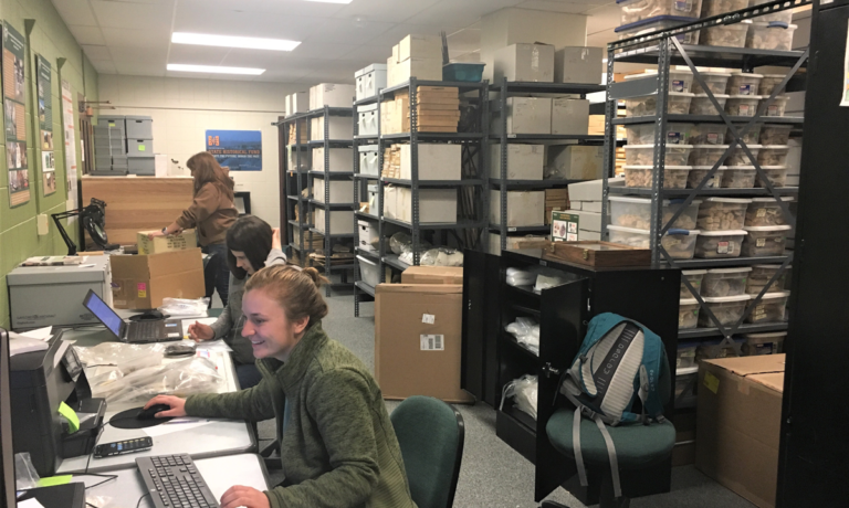Students working in the CSU Archaeological Repository