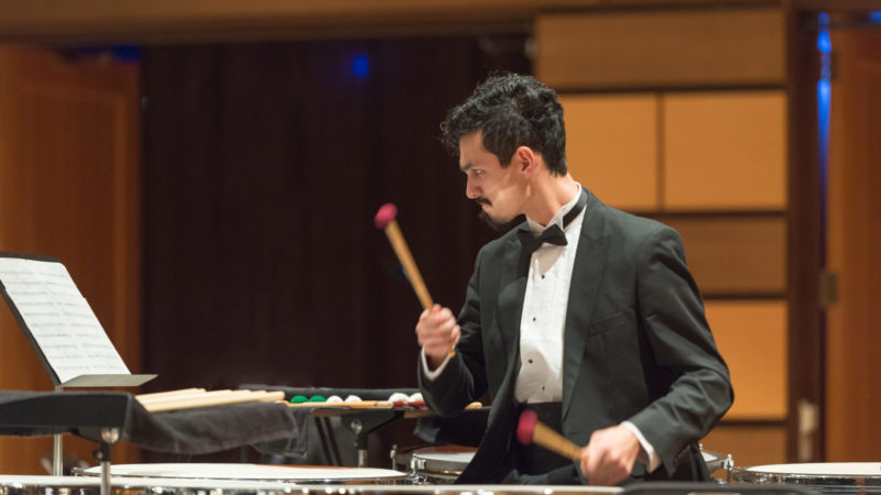 Student plays in the CSU Wind Symphony