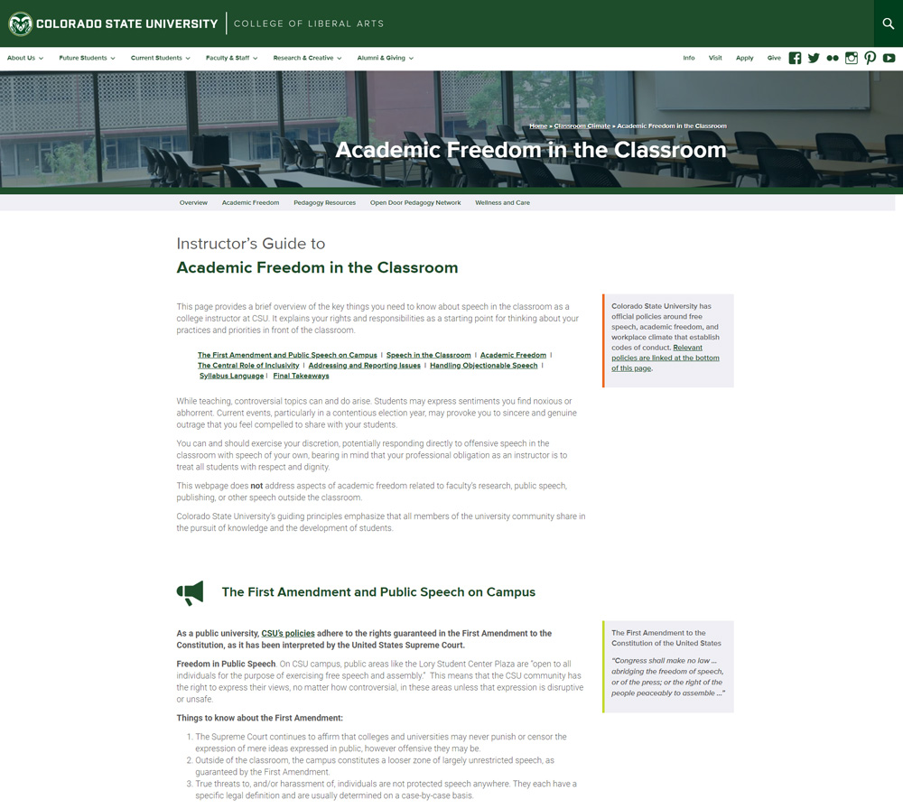 Screenshot of a webpage detailing Academic Freedom for instructors