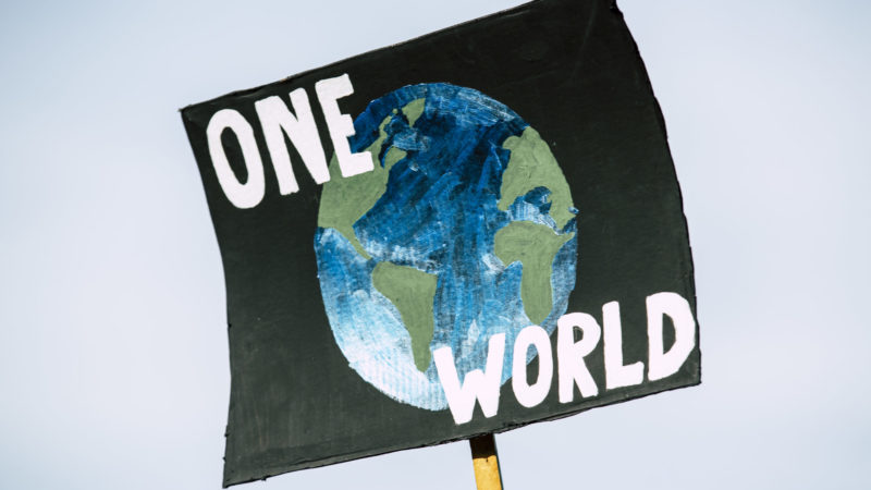"""Poster with picture of the earth and the words """"one world"""""""