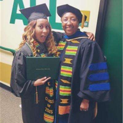 Two women in university regalia