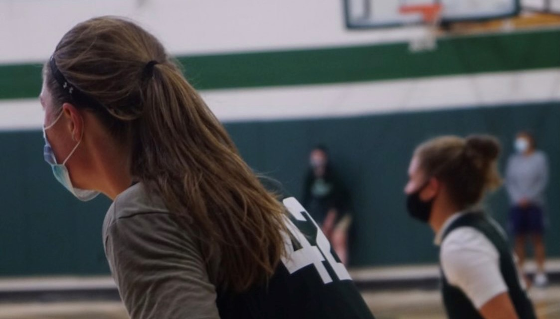 Student athlete wearing mask