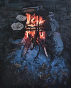 Cook fire painting by Osborne