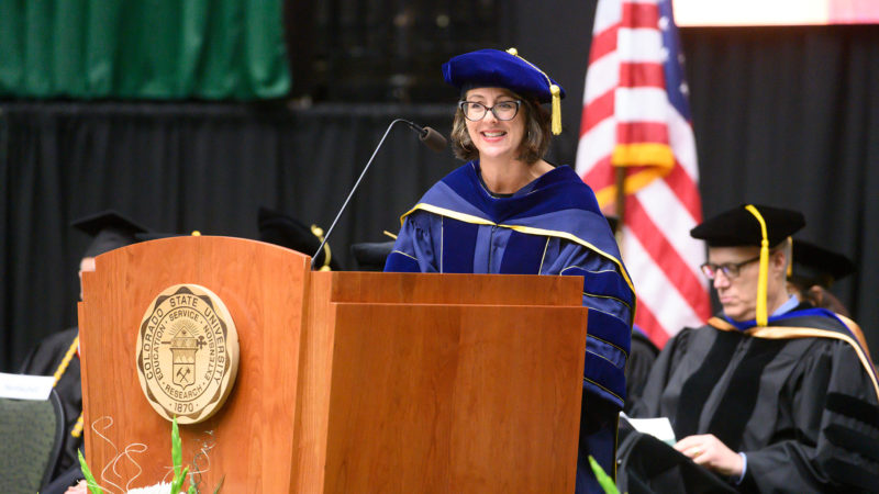 Roze Hentschell recognizes graduates with distinction at the College of Liberal Arts Fall 2019 Commencement Ceremony