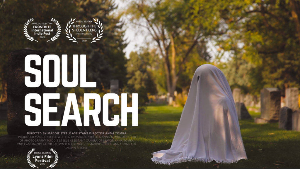 "Poster from short film ""Soul Search"". Scene from a cemetery with sheet covering a fire hydrant"