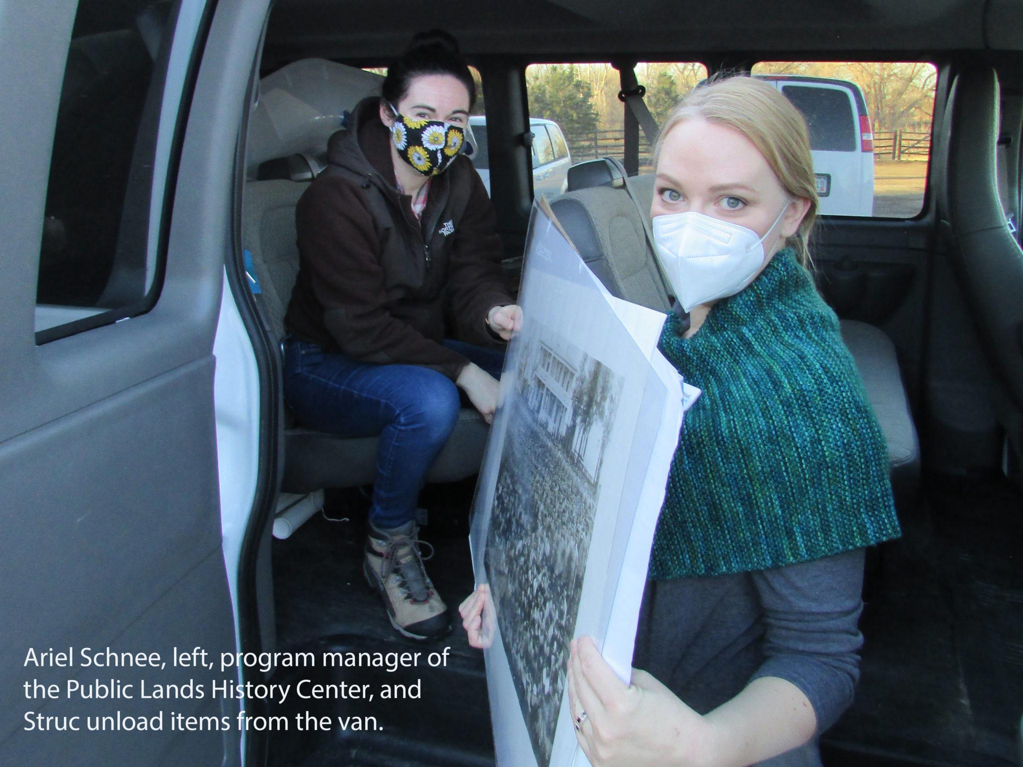Ariel Schnee and Lesley Struc with van