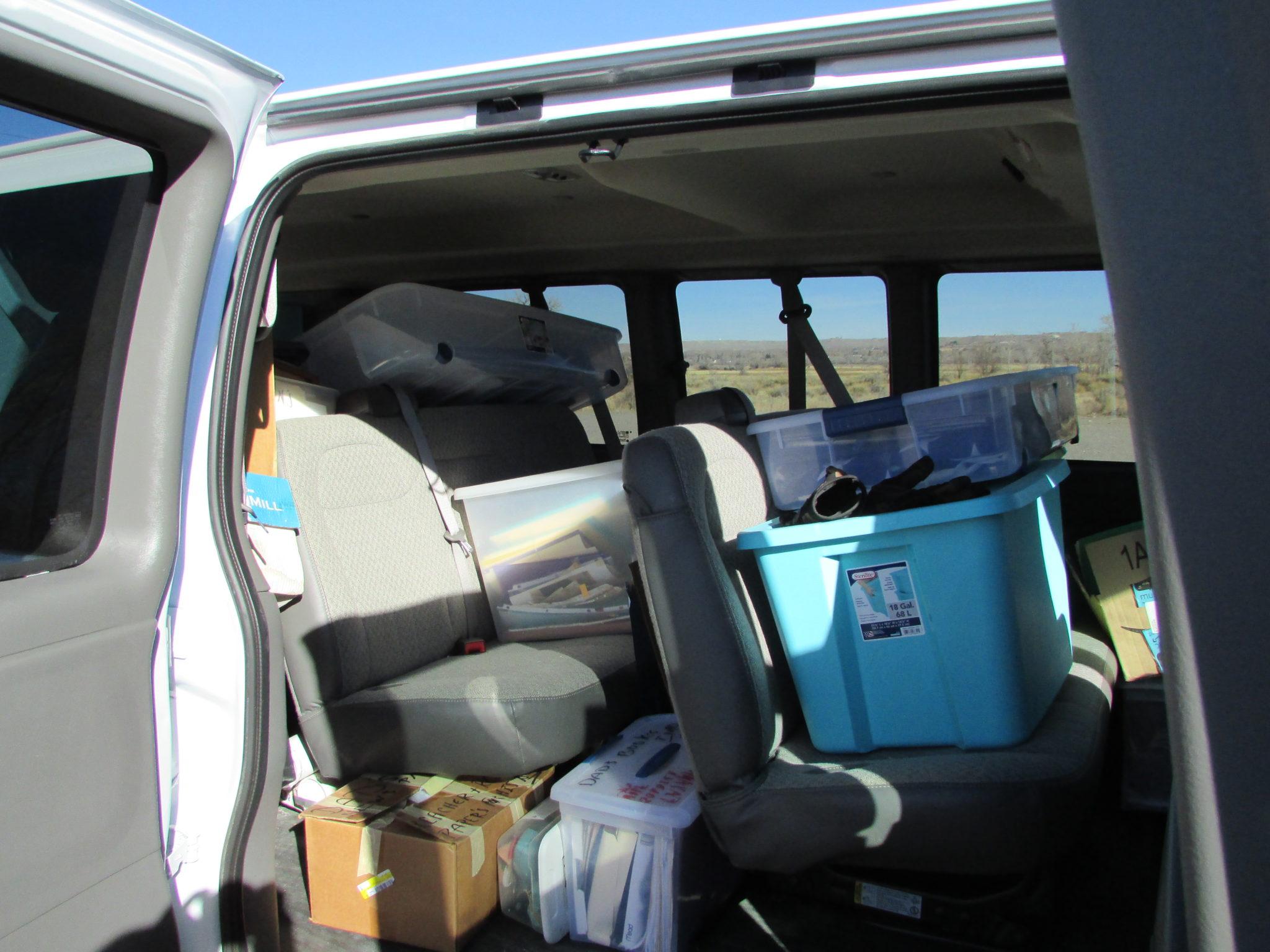 Boxes in van