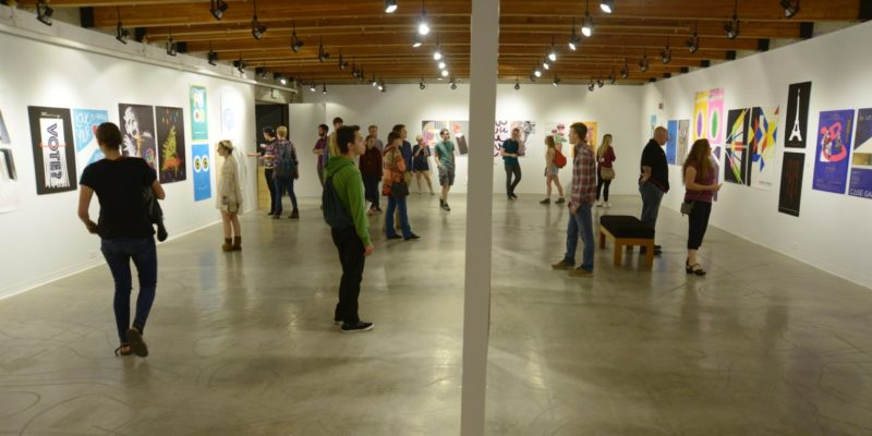 People explore art museum