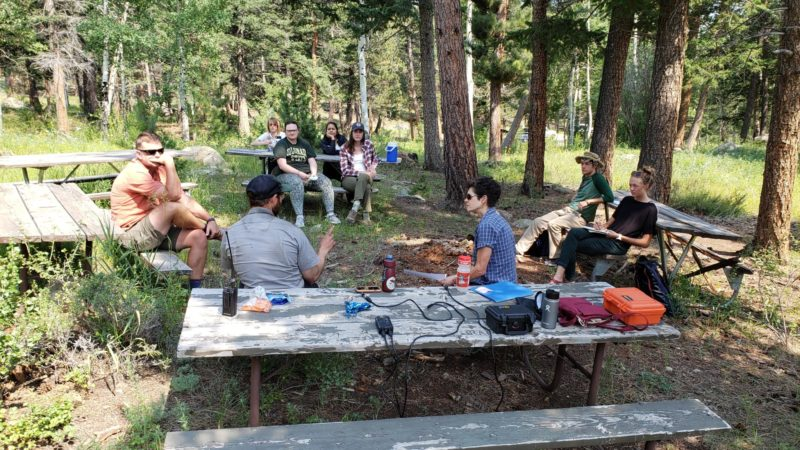 The team prepares to conduct an oral history with Wilderness Ranger, Jacob Siedel